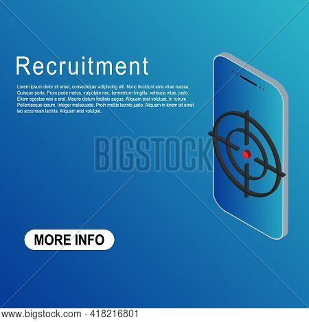 Recruitment Template Vector Icon Isometric. Modern Target Illustration Of Crosshair Symbol For Web D
