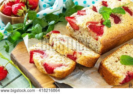 Delicious Summer Dessert Gluten Free Strawberry Pie, Cake With Strawberries On A Wooden Table.