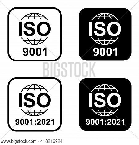 Set Of Iso 9001 Icon. Standard Quality Symbol. Vector Button Sign Isolated On White Background .