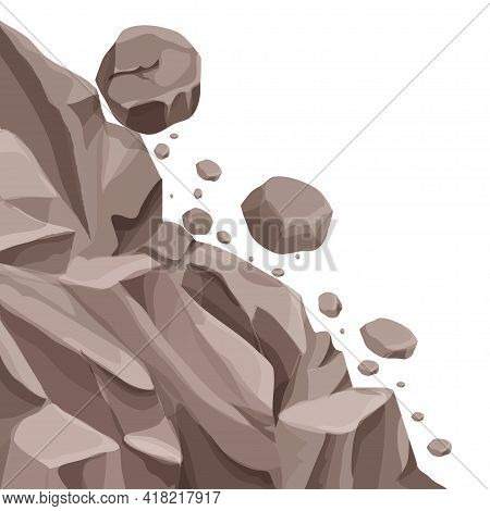 Mountain Landslide With Falling Rocks, Stones In Cartoon Flat Style Isolated On White Background. Na