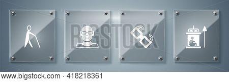 Set Elevator For Disabled, Eyeglasses, Poor Eyesight And Blind Human Holding Stick. Square Glass Pan