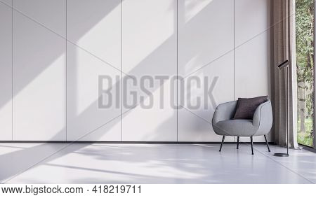 Minimal Style Living Room Decorate With Modern Gray Lounge Chair 3d Render There Are Empty White Wal