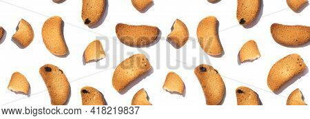 Seamless Banner With Crunchy Croutons Isolated On White Background. Homemade Crusty Bread Slices. To
