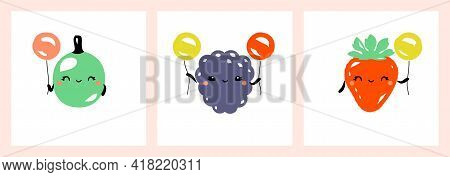Kawaii Characters Of Gooseberry, Blackberry And Strawberry. Cute Happy Fruits With Multicolored Ball