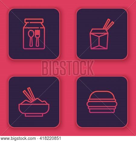 Set Line Online Ordering And Delivery, Rice Bowl With Chopstick, Asian Noodles Chopsticks And Burger