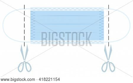 Scissors Cutting Medical Mask Straps Before Throwing. Protective Equipment Utilization With Care For
