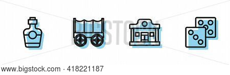 Set Line Wild West Saloon, Tequila Bottle, Covered Wagon And Game Dice Icon. Vector