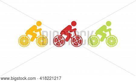 Cyclist Lemon, Lime, Tomato. Bicycle With Lemon As Wheel