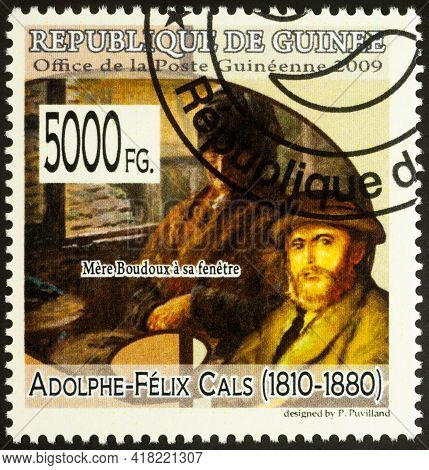 Moscow, Russia - April 24, 2021: Stamp Printed In Guinea Shows Artist Adolphe-felix Cals, And His Pa