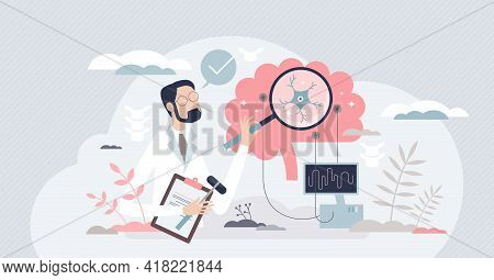 Neurologist As Medical Specialist And Neural Care Doctor Tiny Person Concept. Occupation And Profess