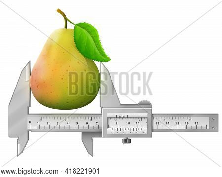 Horizontal Caliper Measures Ripe Pear Fruit. Concept Of Raw Pear With Leaf And Measuring Tool. Vecto