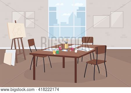 Art Classroom Flat Color Vector Illustration. Artistic Hobby Class. Learn Painting. Drawings On Tabl