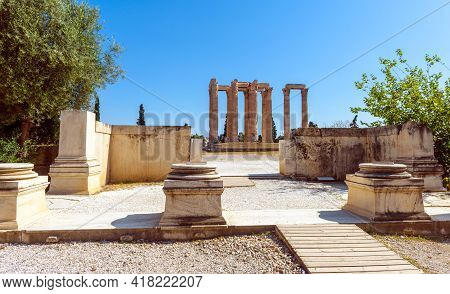Temple Of Olympian Zeus, Athens, Greece, Europe. Scenic View Of Classical Greek Ruins In Athens City