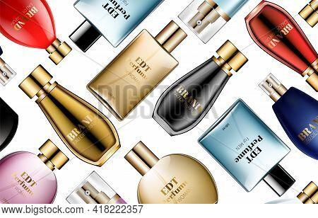 Vector Seamless Perfume Bottle Luxury Pattern Glamour Background