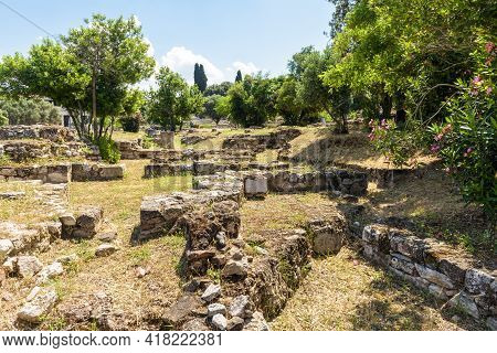 Landscape Of Ancient Greek Ruins In Agora, Athens, Greece, Europe. Scenic View Of Remains Of Old Cla