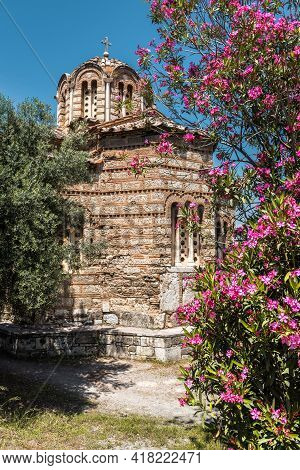 Church Of Holy Apostles In Ancient Agora, Athens, Greece. This Place Is Tourist Attraction Of Athens