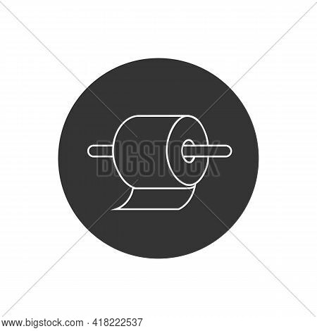 Toilet Paper Roll Line White Icon In Flat. Vector