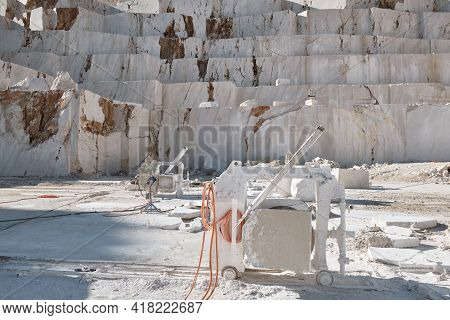 Stone Sawing Machines At Marble Quarry. Marble Cutting Factory. Mining Industry
