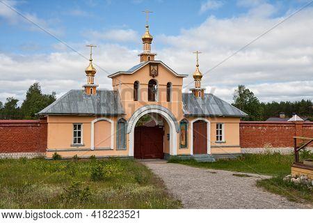 Holy Gates, Chapel And Belfry In Vazheozersky Transfiguration Monastery, Karelia, Russia