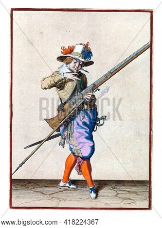 A soldier, full-length, to the right, holding a musket (a type of firearm) with his left hand. With his right hand, he brings a burning wick to his mouth to blow it clean