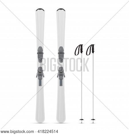 Realistic Gray Alpine Skiing And Poles Vector Illustration Mountaineering Ski Sports Equipment