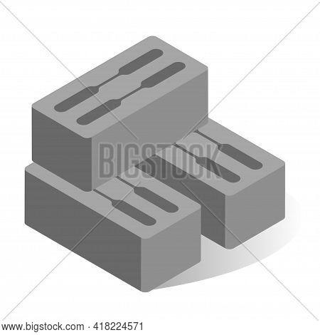 Cinder Block Vector Flat Illustration. Industrial Cement Block For Building Or Construction Work