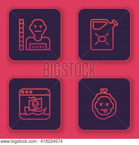 Set Line Suspect Criminal, Internet Piracy, Canister Fuel And Murder. Blue Square Button. Vector