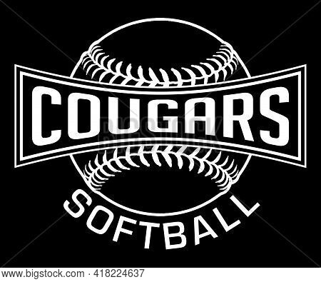 Cougars Softball Graphic-one Color-white Is A One Color, White On Black Sports Design Which Includes