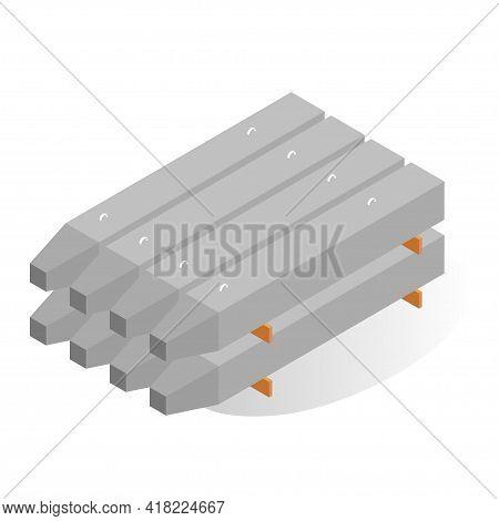 Stack Reinforced Concrete Piles Vector Flat Illustration Cement Pile Construction Building Material