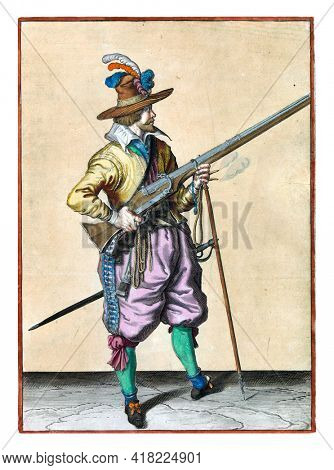 A soldier on guard, full-length, to the right, holding a musket (a certain type of firearm) by his right side, his right index finger on the trigger, his left hand around the fork of the furket