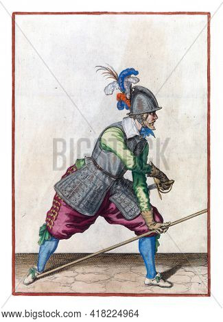 A soldier, full-length to the right, placing spear (lance) with left hand against right foot and drawing his sword with right hand