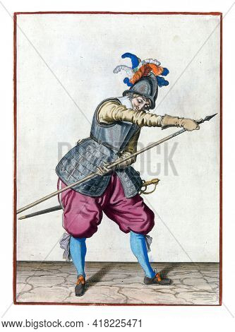 A soldier, full-length, to the right, holding the tip of his spear (lance) forward with his right hand and grasping the shaft with his left hand