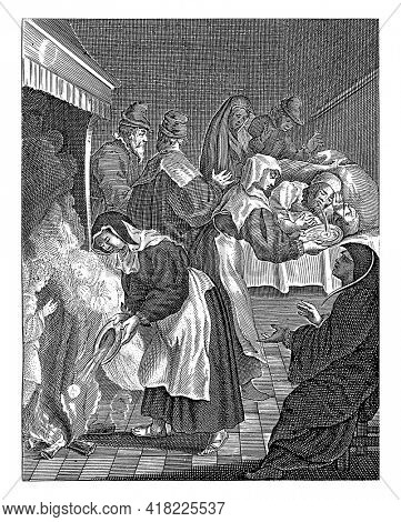 The nurse throws the vomit with the host into the fire of the hearth to the left. Two angels appear in the fire, in the background the sick person vomits the host.