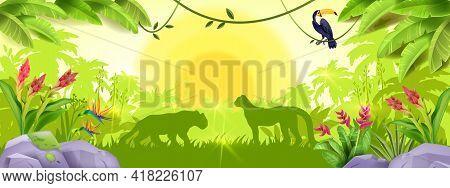Jungle Forest Background, Tropical Paradise Wood Landscape, Leopard Outline, Toucan, Liana, Flowers,