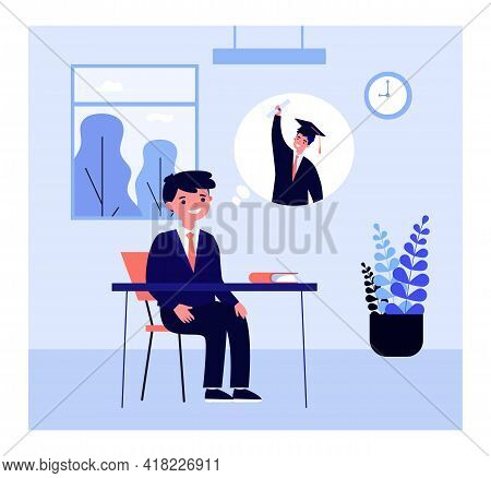 Pupil Thinking Of Graduating From University. Boy In School Uniform Daydreaming In Class Flat Vector