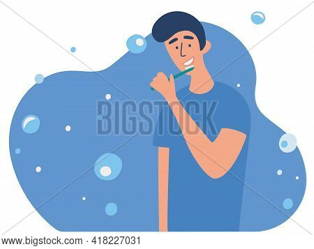 Young Man Brushing His Teeth With Toothbrush. Daily Morning Routine, Oral Or Dental Hygiene Procedur