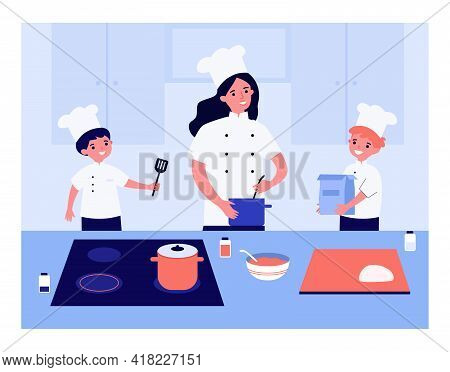 Family Cooking Together In Chef Uniform. Mother Making Food, Children Helping, Kitchen Counter Vecto