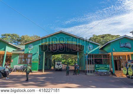 Ngorongoro Conservation Area, Tanzania - February 16, 2020: Entrance Gate To The Ngorongoro Crater I