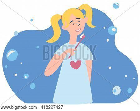 Little Girl Brushing Her Teeth. Oral Or Dental Hygiene Procedure. Teeth Cleaning, Healthy Teeth. Kid