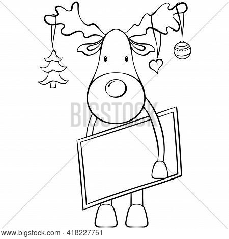 Cute Christmas Deer With Postcard And Christmas Tree Decorations. Animal Cartoon Character. Vector H