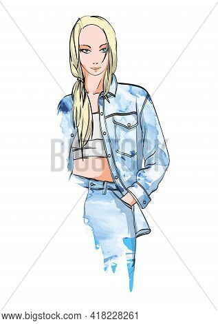 Fashion Woman In Jeans Jacket. Stylish Beautiful Young Woman. Sketch.