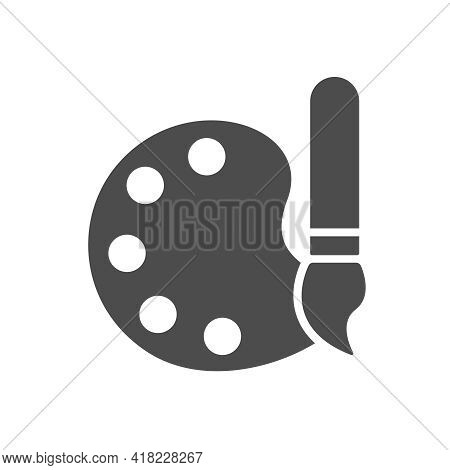 Palette With Brush Vector Icon Isolated On White. Palette With Brush Silhouette Icon Symbol For Web,
