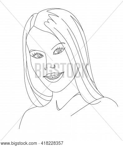 Young Woman Face. Sketch. Beauty Girl Face. Abstract Minimal Woman Portrait.