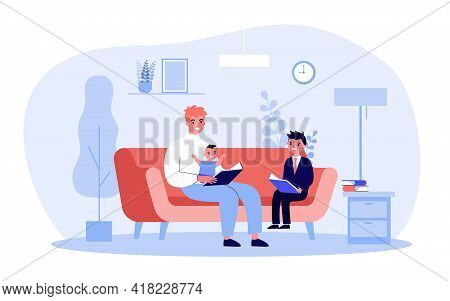 Single Father Reading Book To Children. Man With Baby And Son On Sofa, Adult And Child Holding Books
