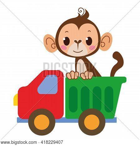 Monkey Monkey Driver. Vector Toy Cartoon Truck. Auto Kids Funny And Cute Logo. Shipping. Boyish Prin