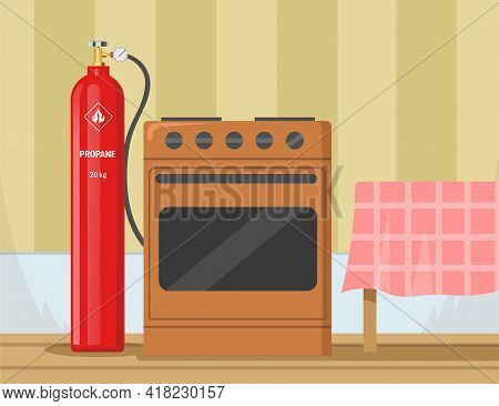 Gas Stove With Propane Container In Kitchen Vector Illustration. Cylinder With Propane, Balloon With