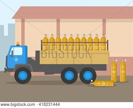 Truck With Balloons Of Carbon Dioxide Flat Vector Illustration. Vehicle Transporting Industrial Fuel