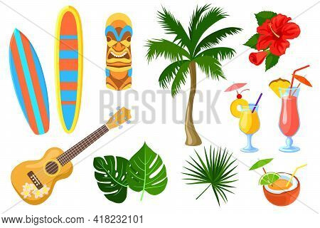 Set Of Cartoon Hawaiian And Travel Symbols. Flat Vector Illustration. Colorful Collection Of Guitar,
