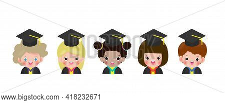 Set Of Graduation Kids, Happy Children Graduates, Graduates In Gowns And With Diploma, Students Grad