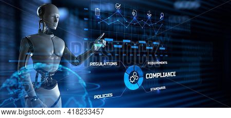 Compliance Concept. Robot Pressing Button On Screen 3d Render
